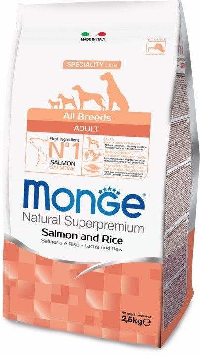 Monge Dog Speciality корм для собак всех пород лосось с рисом 2,5 кг.
