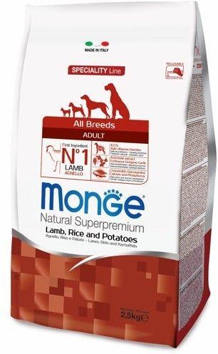 Monge Dog Speciality корм для собак всех пород ягненок с рисом и картофелем 2,5 кг.