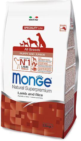 Monge Dog Speciality Puppy&Junior корм для щенков всех пород ягненок с рисом и картофелем 2,5 кг.