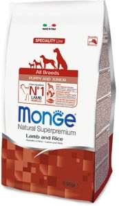 Monge Dog Speciality Puppy&Junior корм для щенков всех пород ягненок с рисом и картофелем  2,5 кг