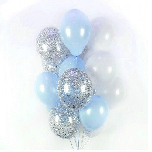 Белые,голубые и прозрачные шарики с серебряными блёстками