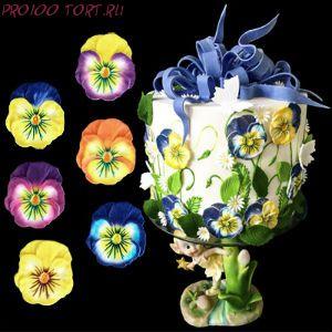 Сахарные цветы  Анютины глазки (d-50мм) 5шт/уп