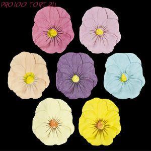 Сахарные цветы  Анютины глазки ПАСТЕЛЬ (d-50мм) 5шт/уп