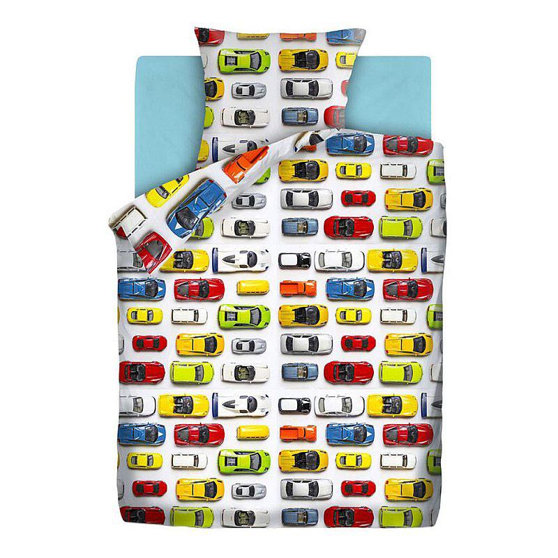 """Детское постельное белье """"Машинки"""", рис.4613-голубой (Непоседа), 1.5сп."""