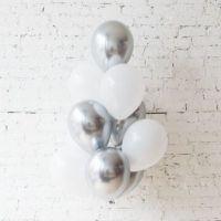 Гелиевые шарики хром серебряные  и Белые