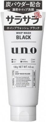 """""""SHISEIDO"""" """"UNO"""" Освежающая чёрная мужская пенка для умывания на основе натуральной глины с древесным углём и цитрусовым ароматом,130 гр."""