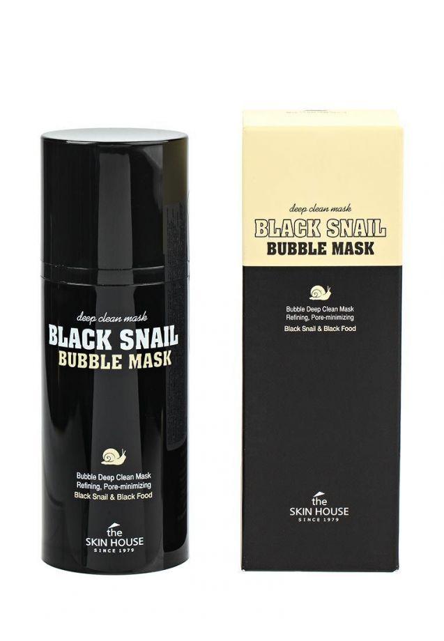 Кислородная очищающая маска с муцином черной улитки, The Skin House Black Snail Bubble Mask, 100мл