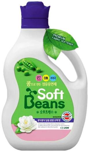 CJ Lion Кондиционер для белья Soft Beans на основе экстракта зелёного гороха флакон 1,5 л