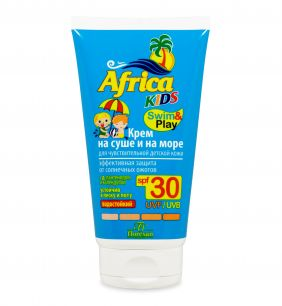 Крем на суше и на море, для чувствительной детской кожи SPF 30 «Africa Kids»