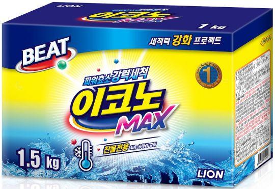 CJ Lion Концентрированный стиральный порошок для ручной и автоматической стирки в холодной воде для всех видов тканей Beat Econo Max коробка 1,5 кг