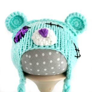 Вязаная шапочка для куклы Мишка Тедди мятный