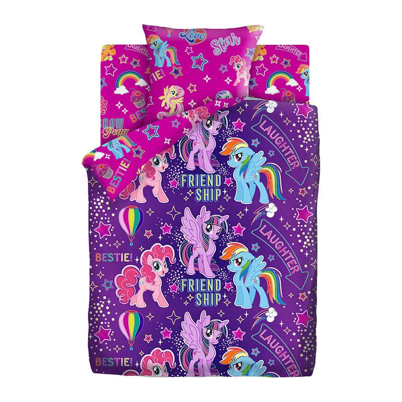 """Детское постельное белье """"Дружба"""", рис.16119-1-16120-1 (My little Pony Neon), 1.5сп."""
