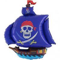 Шар фольга Фигура Корабль Пиратский синий G36 с гелием