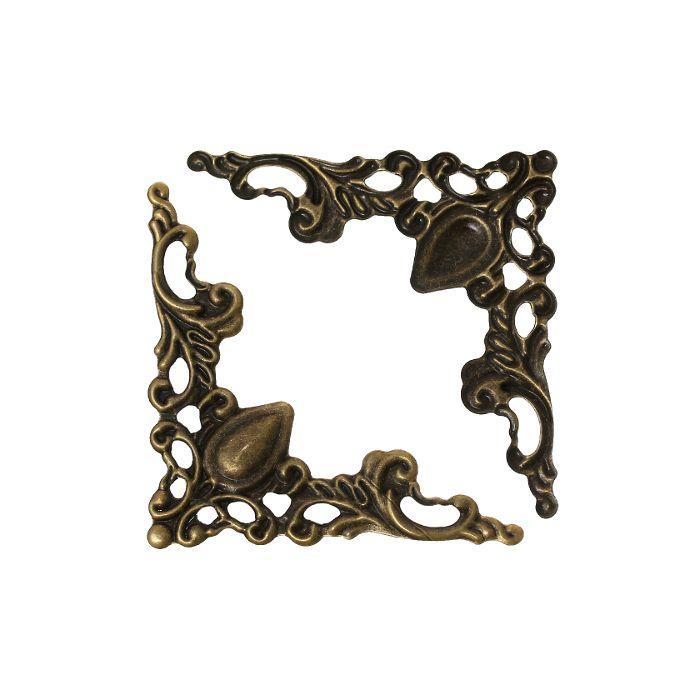 Уголок для шкатулки ажурный, чекан. бронза, 22 мм, 4 шт/упак