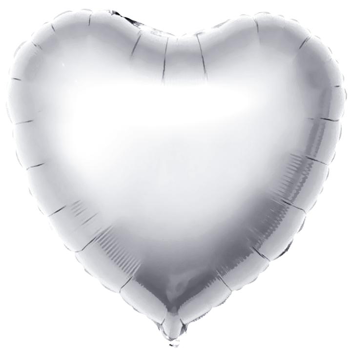"Шар фольга без рисунка Сердце 18"" серебро с гелием"