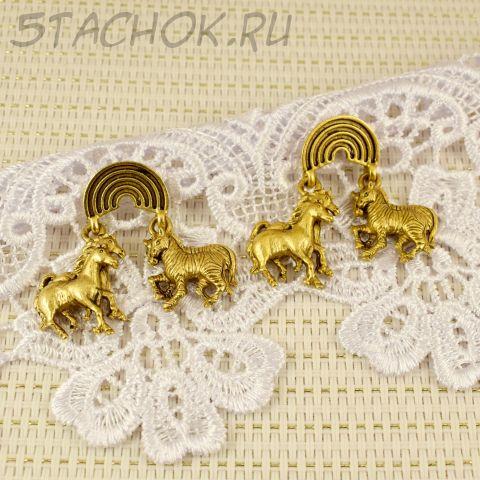 """Серьги-гвоздики """"Животные ковчега"""" цвет античного золота (Danecraft США)"""