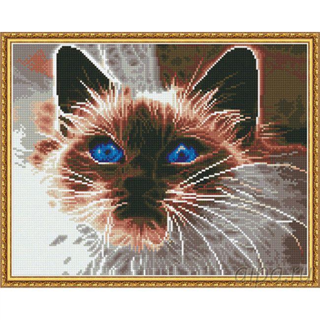 Набор Алмазная мозаика Дымчатый кот с рамкой 40*50 см