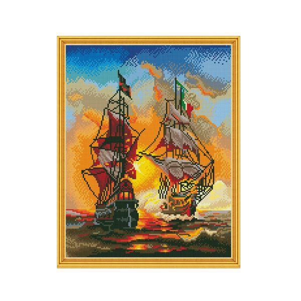 Набор Алмазная мозаика Морской бой с рамкой 40*50 см