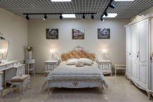 Спальня БАРОККО белый с золотой патиной 4-дверный шкаф