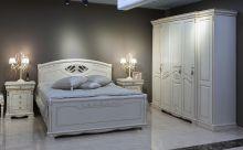 Спальня ЛАУРА слоновая кость с золотой патиной 5-дверный шкаф