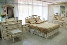 Спальня ЭЛЕГАНЦА белый с золотой патиной 4-дверный шкаф