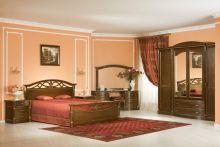 Спальня ЭЛЕГАНЦА орех с золотой патиной 4-дверный шкаф