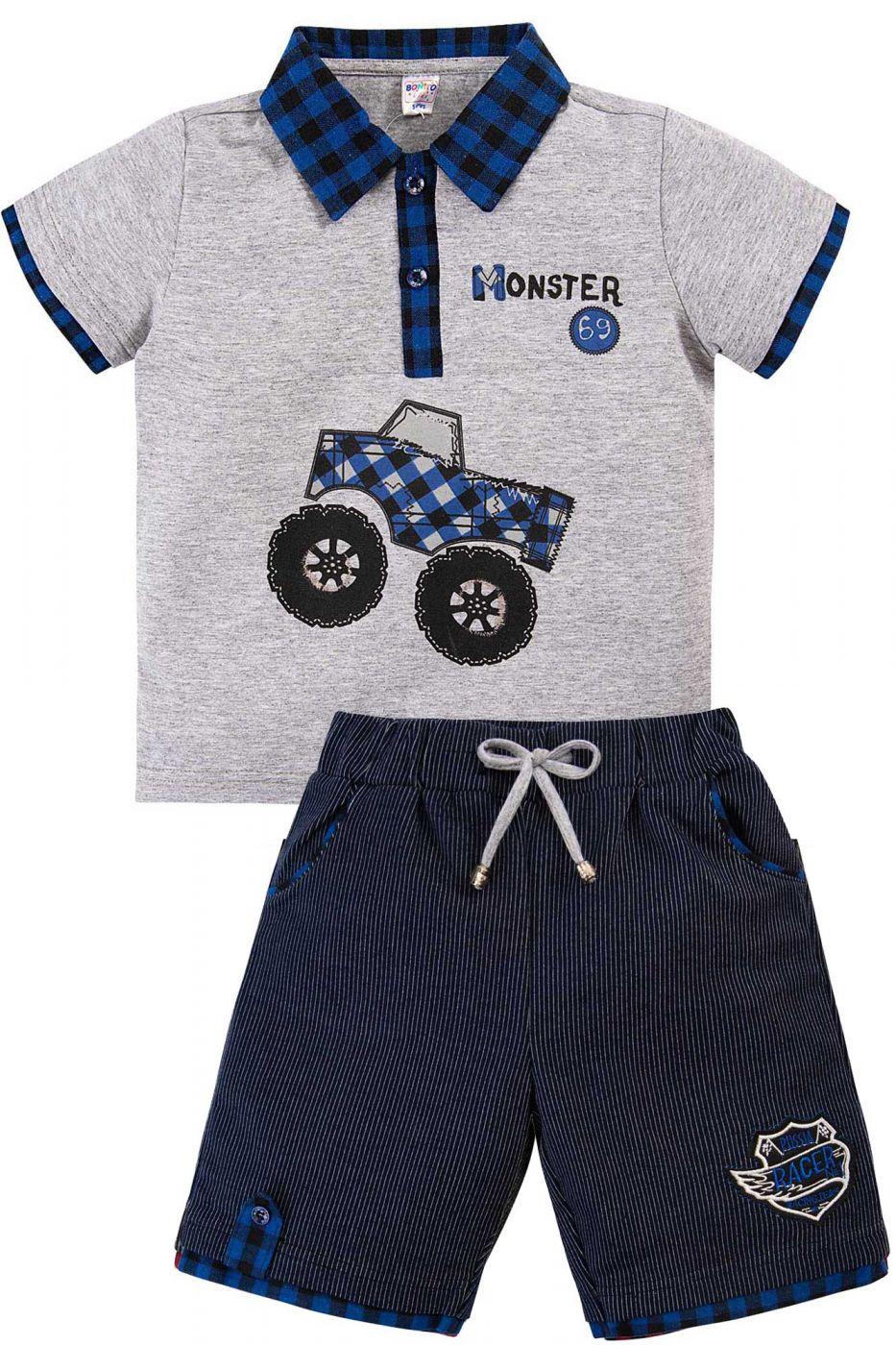 Комплект для мальчика Bonito серый-меланж/синий