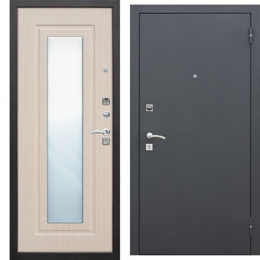 Входная дверь ЦАРСКОЕ ЗЕРКАЛО МУАР (белый ясень)
