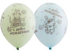 """Шелкография, пастель 14"""" С ДР Зверюшки-игрушки, 25 шт"""