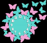 Часы настенные с бабочками цветные