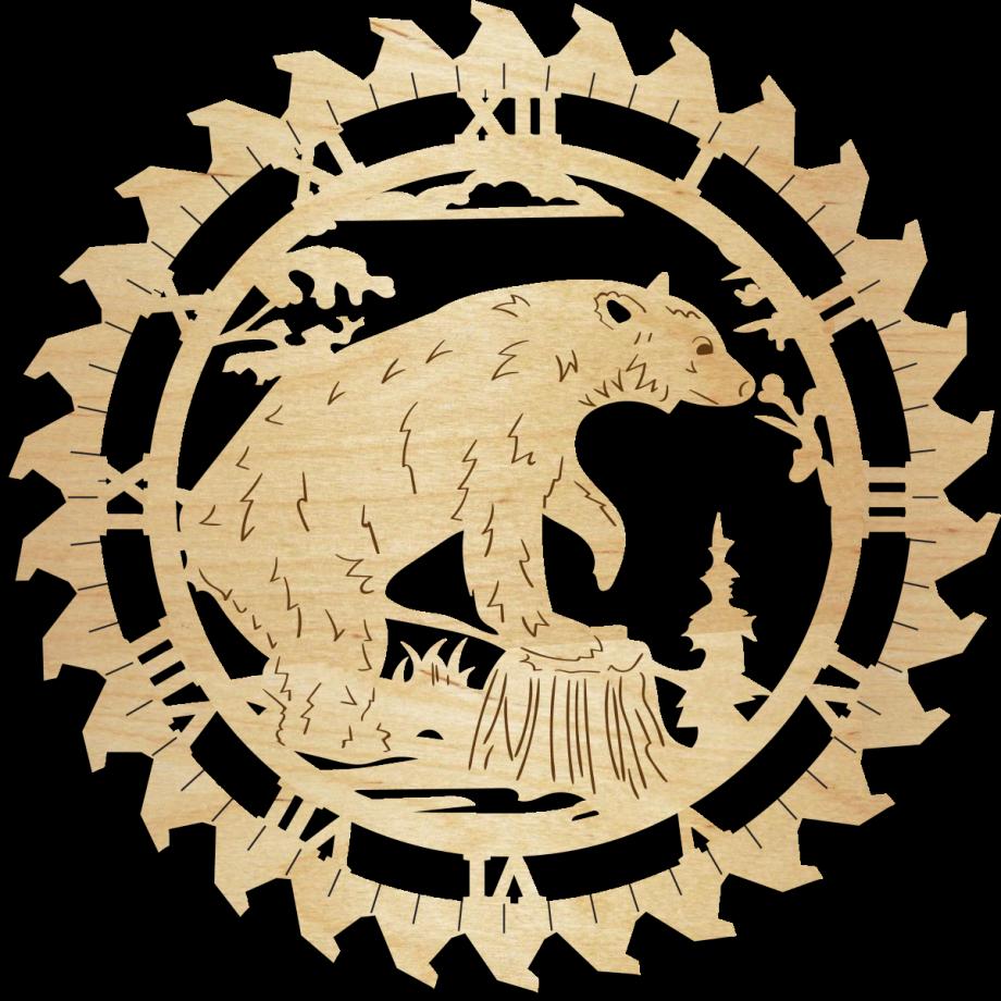 Часы настенные с медведем