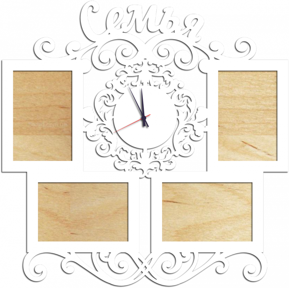 Часы с фоторамками настенные семья с ажурной вставкой