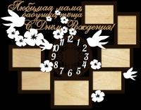 Часы настенные с фоторамками любимая мама, бабушка, теща с др
