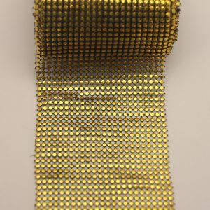 """Лента декоративная """"имитация страз"""", ширина 11,5 см, длина 10 ярдов, цвет: золото"""