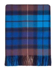 Легкий шотландский плед, расцветка (тартан) клана Бьюкенен -синий вариант BUCHANAN BLUE TARTAN LAMBSWOOL ,100 % стопроцентная шотландская овечья шерсть, плотность 6