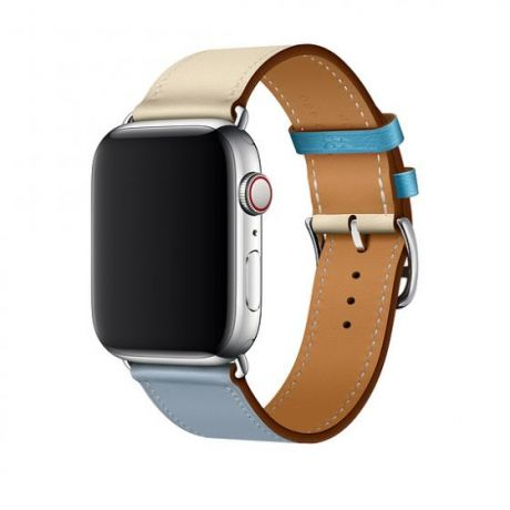 Apple Watch Hermes Stainless Steel Series 4 44mm GPS + Cellular Bleu Lin/Craie/Bleu du Nord Swift Leather Single Tour