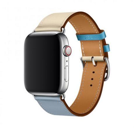 Apple Watch Hermes Stainless Steel Series 4 44mm GPS + Cellular Bleu Lin/Craie/Bleu du Nord Swift Leather Single Tour