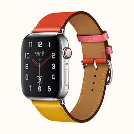 Apple Watch Hermes Stainless Steel Series 4 44mm GPS + Cellular RoseYellowOrange Leather Single Tour