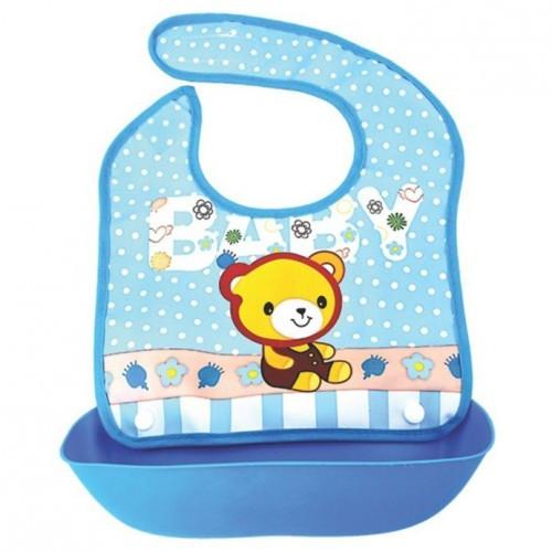 Детский нагрудник для кормления с отстегивающимся карманом, цвет голубой