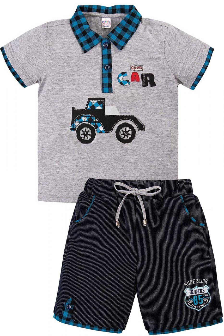 Комплект для мальчика Bonito серый-меланж/голубой