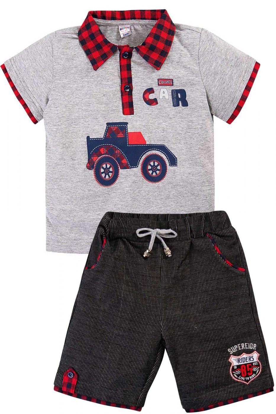 Комплект для мальчика Bonito серый-меланж/красный