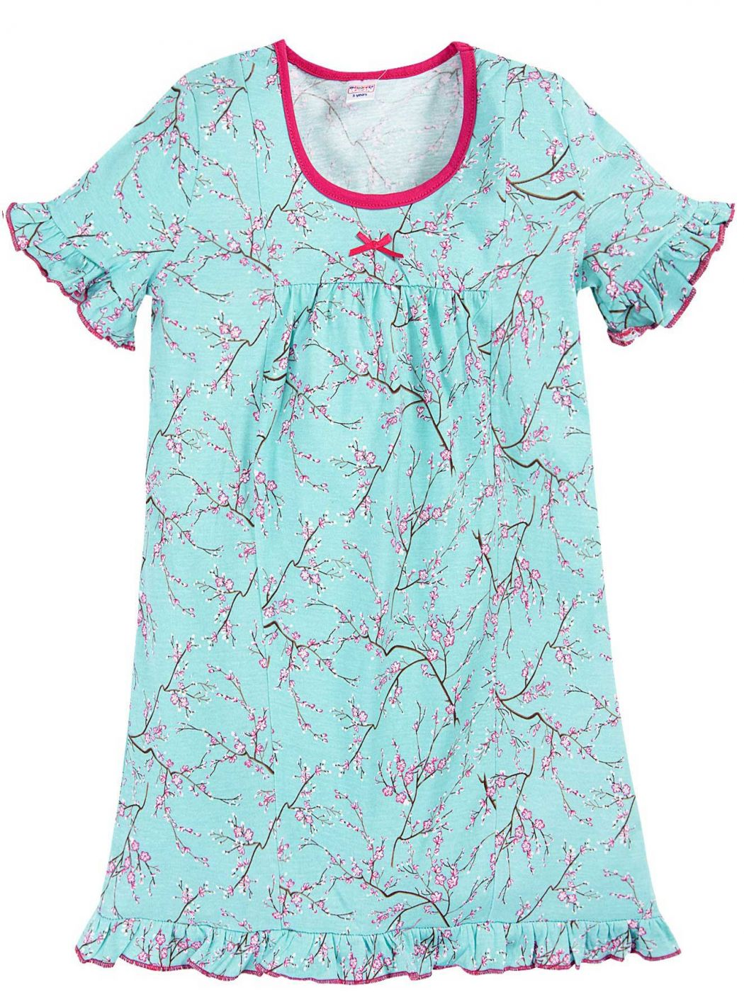 Сорочка для девочек голубая цветы сакуры