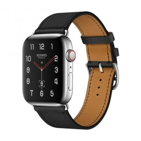 Apple Watch Hermes Stainless Steel Series 4 44mm GPS + Cellular Noir Swift Leather Single Tour