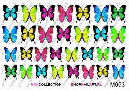 Слайдер-дизайн M053 - Яркие голубые, розовые, жёлтые, зелёные бабочки
