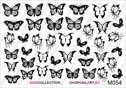 Слайдер-дизайн M054 - Чёрно-белые бабочки