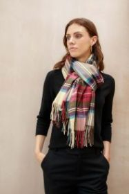 Роскошный Экстра большой плотный шарф, высокая плотность, 100 % драгоценный кашемир ,  Тартан Стюарт  , вариант Гессе (премиум) Hessian Dress Stewart