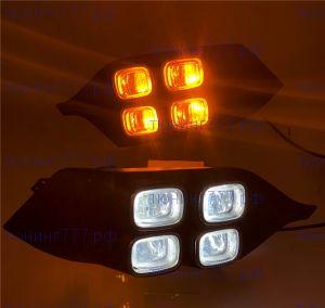 ДХО в бампер, диодные 4 LED, с хромом и повторителями
