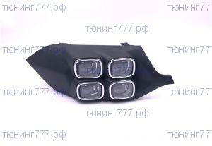ДХО в бампер, диодные 4 LED, с хромом