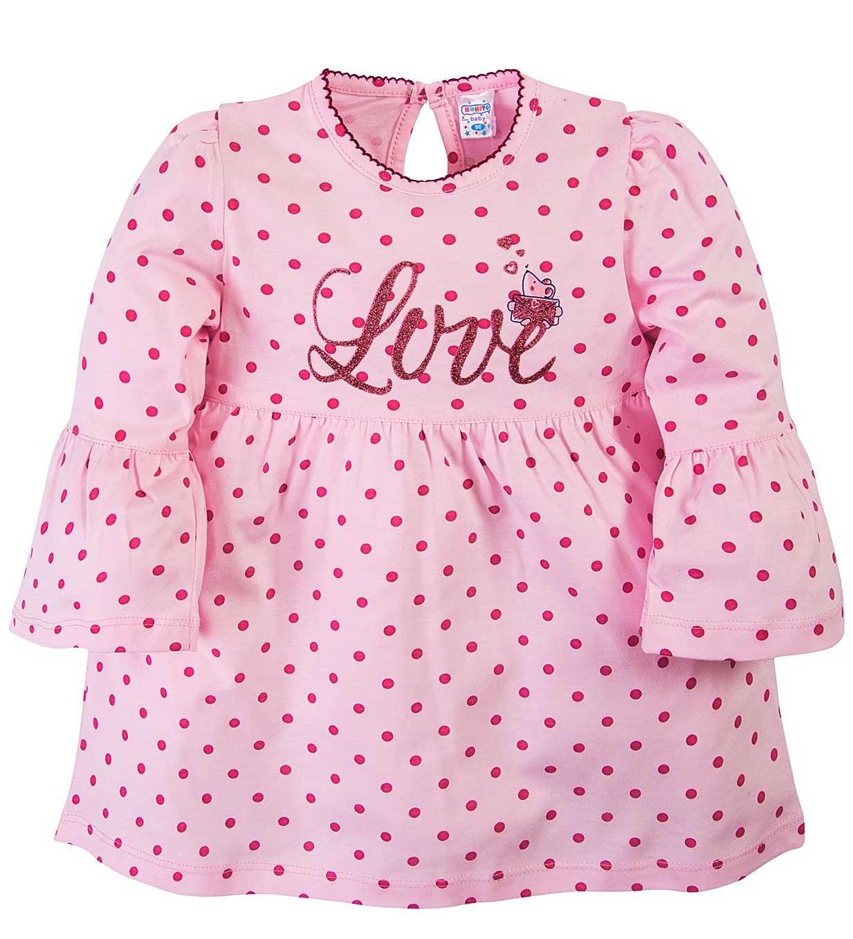 Платье для девочек.Bonito розовое в горошек