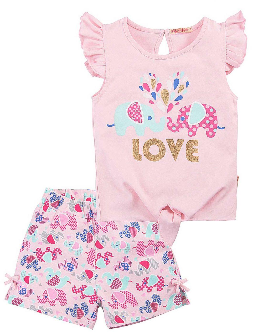 Летний костюм для девочек Bonito розовый слонята